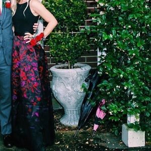 Black and maroon formal gown